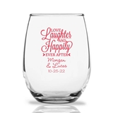 Personalized 15oz 'Love Laughter…' Script Design Stemless Wine Glasses