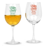 Personalized 'Love, Laughter, Happily Ever After' Stemmed Wine Glass
