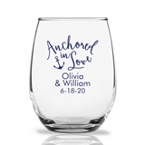 Personalized 15oz 'Anchored in Love' Design Stemless Wine Glasses