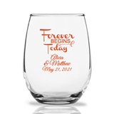 Personalized 15oz 'Forever Begins Today' Design Stemless Wine Glasses