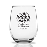Personalized 15oz 'Oh Happy Day' Ornate Design Stemless Wine Glasses
