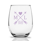 Personalized 15oz Woodsy Arrow Monogram Design Stemless Wine Glasses