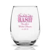 Personalized 15oz Bachelorette Bash Bubbly Design Stemless Wine Glass