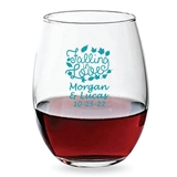 Personalized 15oz Script 'Falling in Love' Design Stemless Wine Glass