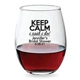 Personalized 15oz 'Keep Calm I Said I Do' Design Stemless Wine Glass