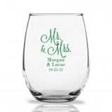 Personalized 15oz 'Mr. & Mrs.' Cursive Design Stemless Wine Glasses