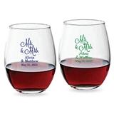 Personalized 9oz 'Mr. & Mrs.' Cursive Design Stemless Wine Glasses