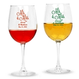 Personalized 'Mr. & Mrs.' Cursive Design Stemmed 12oz Wine Glasses