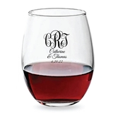 Personalized 15oz Vine Monogram Design Stemless Wine Glasses