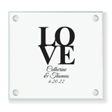 Personalized Classic 'Stacked LOVE' Design Square Glass Coasters