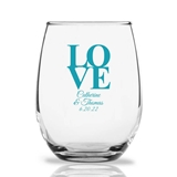Personalized 15oz Classic Stacked LOVE Design Stemless Wine Glasses