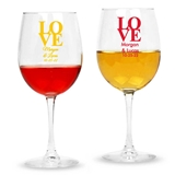 Personalized Stacked LOVE Design Stemmed 12oz Wine Glasses