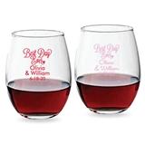 Personalized 9oz Cursive 'Best Day Ever' Design Stemless Wine Glasses