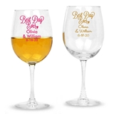 Personalized 'Best Day Ever' Cursive Design Stemmed 12oz Wine Glasses