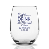 Personalized 15oz 'Eat DRINK Be Married' Design Stemless Wine Glasses
