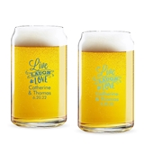 Personalized 'Live Laugh & Love' Design 16oz Beer Can-Shaped Glass