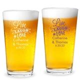 "Personalized ""Live, Laugh, Love"" Design 16oz Pint Glasses"