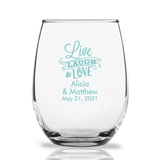 Personalized 15oz 'Live, Laugh & Love' Banner Stemless Wine Glasses