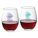 Personalized 9oz 'Live, Laugh & Love' Banner Stemless Wine Glasses
