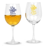 Personalized 'Live, Laugh, Love' Design Stemmed 12oz Wine Glasses