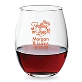 Personalized 15oz Falling in Love Romantic Design Stemless Wine Glass