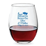 Personalized 15oz 'Two Hearts Become One' Design Stemless Wine Glass