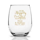 Personalized 15oz 'Our Happily Ever After' Design Stemless Wine Glass