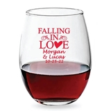 Personalized 15oz Falling in Love Heart Design Stemless Wine Glass