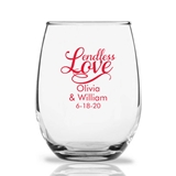 Personalized 15oz Cursive 'Endless Love' Design Stemless Wine Glasses