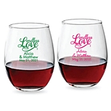 "Personalized ""Endless Love"" 9oz Design Stemless Wine Glass"