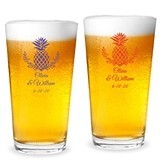 Personalized Palm Beach Pineapple Design 16 ounce Pint Glasses