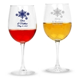 Personalized Winter Wonderland Snowflake Motif Stemmed 12oz Wine Glass