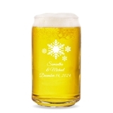 Personalized 'Winter Wonderland' Snowflakes 16oz Beer Can-Shaped Glass