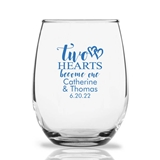 Personalized 15oz 'Two Hearts Become One' Design Stemless Wine Glasses
