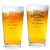 "Personalized ""Our Adventure Begins"" Design 16oz Pint Glasses"