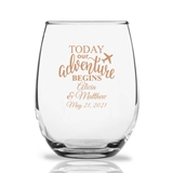 Personalized 15oz 'Today Our Adventure Begins' Stemless Wine Glasses