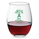 Personalized 15oz 'Eiffel in Love' Design Stemless Wine Glasses