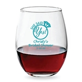 Personalized 15oz 'She Said Yes' Ring Design Stemless Wine Glasses