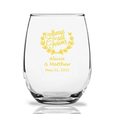 Personalized 15oz Always and Forever Wreath Design Stemless Wine Glass