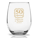 Personalized 15oz 50th Anniversary Frame Design Stemless Wine Glass