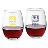 Personalized [Number] Anniversary Frame Design 9oz Stemless Wine Glass
