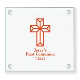 Personalized Faceted Cross Design Square Glass Coasters