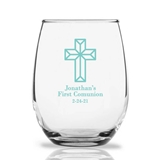 Personalized 15oz Faceted Cross Design Stemless Wine Glasses