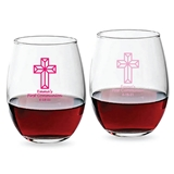 Personalized Faceted Cross Design 9oz Stemless Wine Glasses