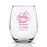 Personalized 15oz Script 'Tied the Knot' Design Stemless Wine Glasses
