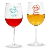 Personalized Script 'Tied the Knot' Design 12oz Stemmed Wine Glasses