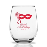Personalized 15oz Masquerade Mask Design Stemless Wine Glasses