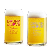 Personalized 'Drunk in Love' Design 16 ounce Beer Can-Shaped Glass