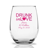 Personalized 15oz 'Drunk in Love' Heart Design Stemless Wine Glasses