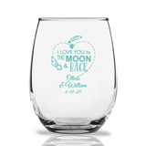 Personalized 15oz 'To the Moon & Back' Rocket Stemless Wine Glasses